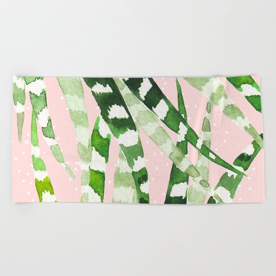 CACTUS WATERCOLOR 02 Beach Towel