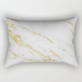 Marble - Shimmery Gold Marble on White Pattern Rectangular Pillow