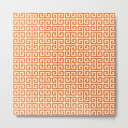 Orange and White Greek Key Pattern Metal Print