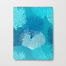 Fan Coral Print, Turquoise, Aqua and Cobalt Blue Metal Print