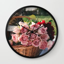 Red and Pink Roses in Basket Wall Clock