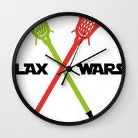 lacrosse Wall Clocks featuring lax wars by laxwear
