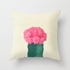 Pink Plaid Cactus Throw Pillow