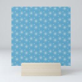 Blue Compass Pattern Mini Art Print