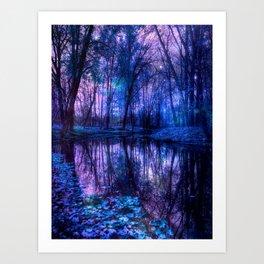 Enchanted Forest Lake Purple Blue Art Print