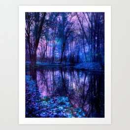 Enchanted Forest Lake Purple Blue Kunstdrucke