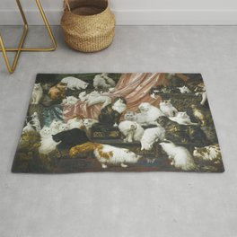 My Wife's Lovers by Carl Kahler 1883 Famous Cat Painting Rug