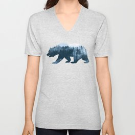 Double Exposure Design of Bear and Forest Unisex V-Neck