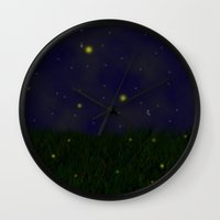 fireflies Wall Clocks featuring Fireflies by Nova Jarvis