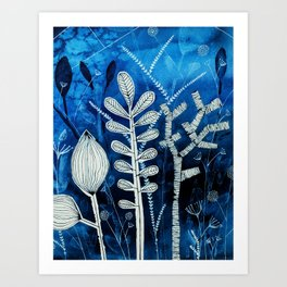 Secret Indigo Garden Art Print