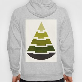 Mid Century Minimalist Abstract Geometric Aztec Pyramid Pattern Olive Green Watercolor Hoody