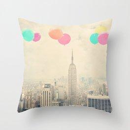 Balloons over the City Throw Pillow