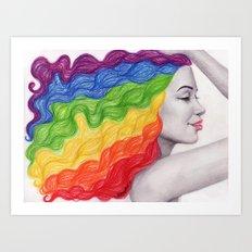 Rainbow Locks Art Print