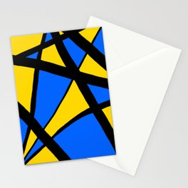 Yellow and Blue Triangles Abstract Stationery Cards