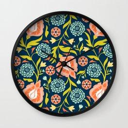 Indigo & Papaya Pattern 07 Wall Clock