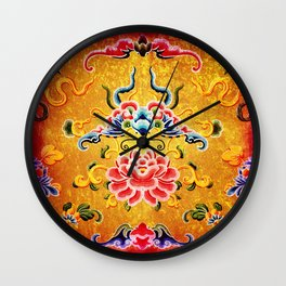 Golden Chinese Ornament Wall Clock