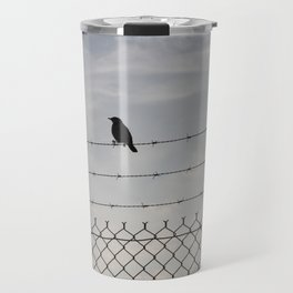 Single Black Bird on a Barbed Wire Fence Travel Mug
