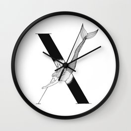 Mermaid Alphabet Series - X Wall Clock