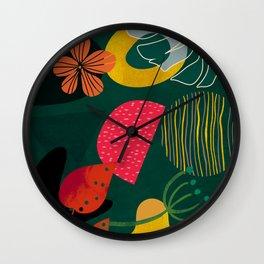 mid century shapes garden party 3 Wall Clock