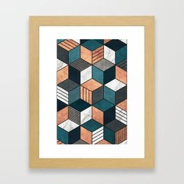 Copper, Marble and Concrete Cubes 2 with Blue Framed Art Print
