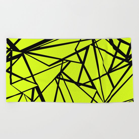 An abstract geometric pattern . Yellow green pattern . Beach Towel
