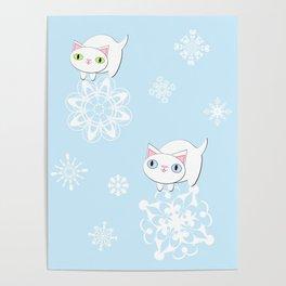 Feline Snowflake Pals Poster