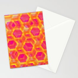 Beehive - Retro Pink Orange Yellow Stationery Cards