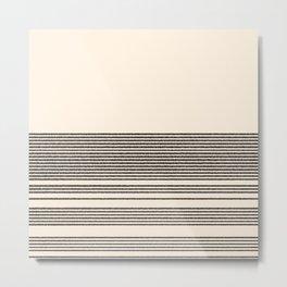 Organic Stripes - Minimalist Textured Line Pattern in Black and Almond Cream Metal Print
