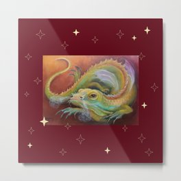 Dragon and Stars Colorful fantasy Illustration Fancy Lizard painting on the brown background Metal Print