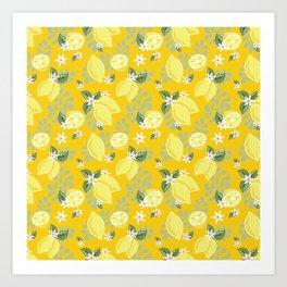 Lemons on Sunshine Yellow Art Print