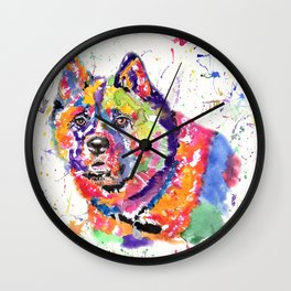 Akita in a spectrum of colour Wall Clock