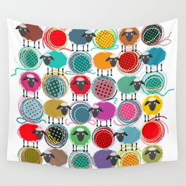 Bright Sheep and Yarn Pattern Wall Tapestry