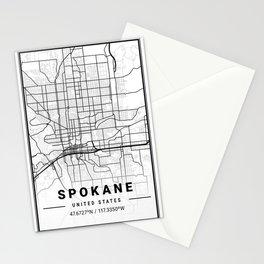 Spokane Light City Map Stationery Cards