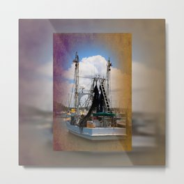 Moored boat on a river Metal Print