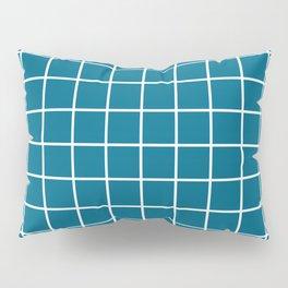 Grid Pattern Peacock Blue 2 Pillow Sham