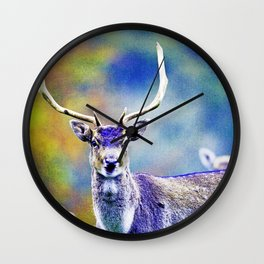 FALLOW DEER IN THE AUTUMN Wall Clock