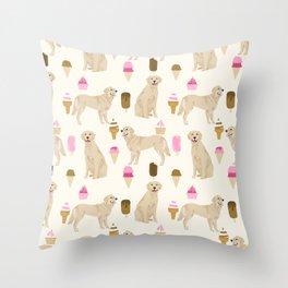 Golden Retriever dog breed pet portrait ice cream custom pet illustration by pet friendly Throw Pillow