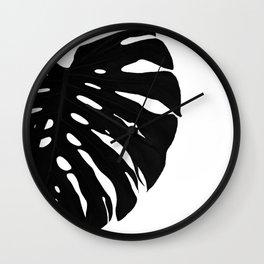 Black Banana Leaf (Black and White) Wall Clock