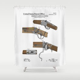 Breech Loading Rifle Patent Shower Curtain