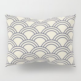 Cream & Blue Japanese Seigaiha Wave Pillow Sham