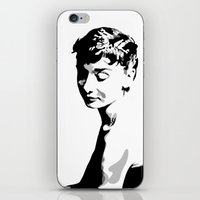 audrey hepburn iPhone & iPod Skins featuring Audrey Hepburn by Geryes
