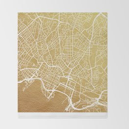 Gold Oslo map Throw Blanket