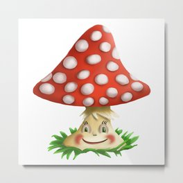 Happy Fly Agaric Metal Print