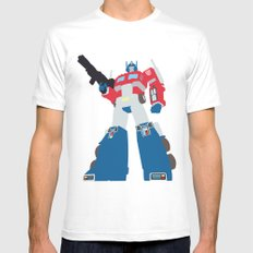 Transformers G1 - Optimus Prime MEDIUM White Mens Fitted Tee