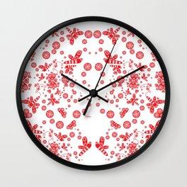 Dragon Flies Through Hearts Wall Clock