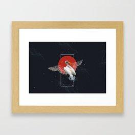 Cranes Japanese Kimono Framed Art Print