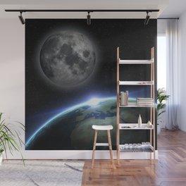 Earth and moon Wall Mural