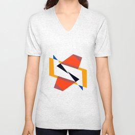 geometric symmetry orange and yellow Unisex V-Neck