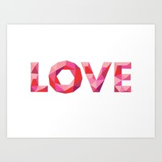 Red Faceted Love Art Print