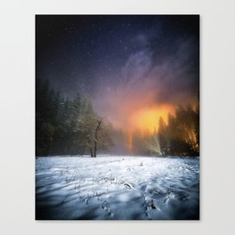 Yosemite Meadow in the Winter, Under the Stars Canvas Print